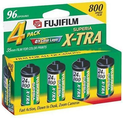 Fuji Film Superia X-tra  800 Speed 35mm 4 ROLL PACK (1 Box 96 exposures) 2017