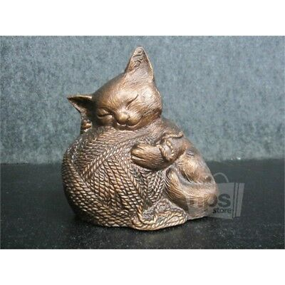 "Cat with Yarn Urn, Copper 6.25"" 1462"