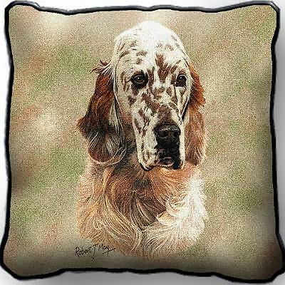 "17"" x 17"" Pillow - English Setter by Robert May 1138"