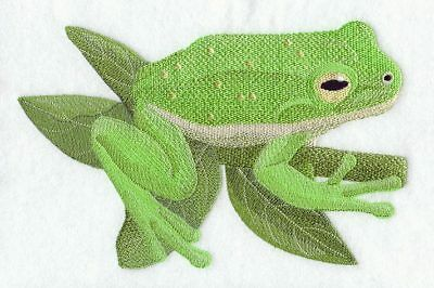 Embroidered Short-Sleeved T-Shirt - Green Tree Frog D1788 Sizes S - XXL