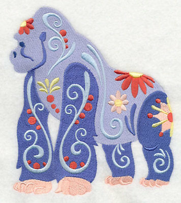 Embroidered Short-Sleeved T-Shirt - Flower Power Gorilla L5990 Sizes S - XXL