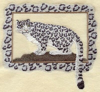 Embroidered Short-Sleeved T-Shirt - Snow Leopard in Frame A4506 Sizes S - XXL