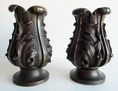 Very Unusual Old Bronze Candle Holders - Gothic - Possibly From Out Of A Church