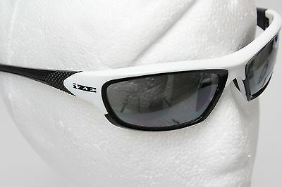 IZE Sport Golf Impact Resist Polycarbonate Sunglasses Wrap Style White Frame New