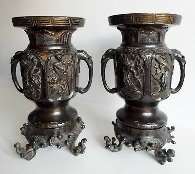 Magnificent Pair Of Antique Oriental Bronze Vases On Stands - Japanese / Chinese
