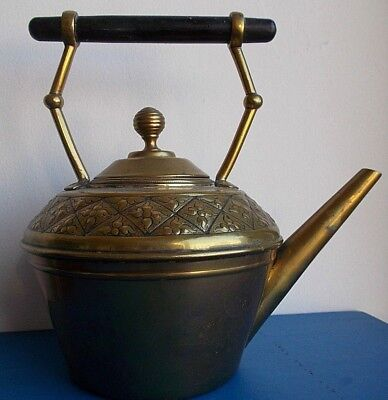 Decorative Brass Kettle, Wooden Handle, Full Of Character.