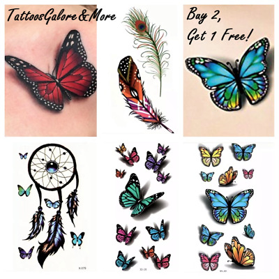 Butterfly Temporary Tattoo, Henna, Feather, Dreamcatcher, Coloured Flower Tattoo