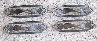 """Set of 4 Vintage 6 3/4"""" Long Cast Metal Drawer Pulls with 3 Inch Centers"""