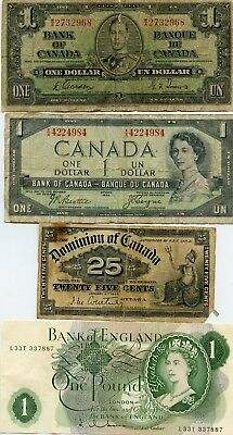 1937, 1954, 1900 Fractional Canada & Bank Of England 1$ Notes!!!!..starts @ 2.99