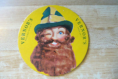 vtg.original Vernor's soda, advertising brand logo bar coaster advertisment