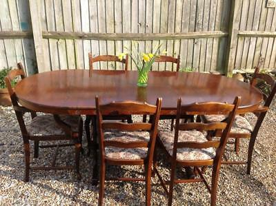 Large Vintage Extendable Dining Table & Chairs Board Room Table Refectory Table