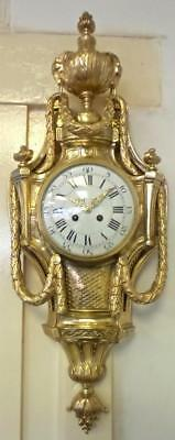 Superb antique 19th c French Japy Freres Solid gilt bronze Cartel Wall Clock