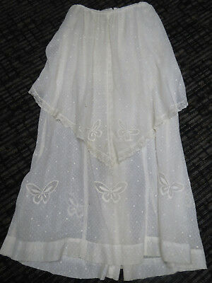 Victorian 1880 White Cotton Voille Fabric Skirt Large Ruffle Over Skirt Lace