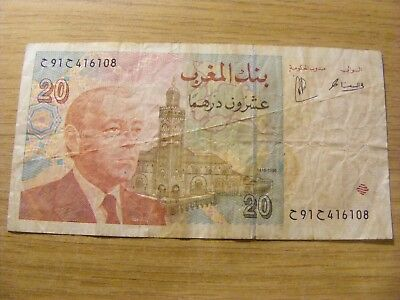 1996 Morocco 20 Dirhams Banknote,  Used  - folds and dirty marks