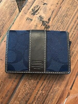Coach Factory Navy Mahogany Business Card Case Holder NEW with tag
