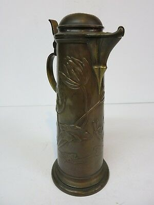 Brass Copper Bronze Art Nouveau Dragon Fly Fish Water Flagon Stein Pitcher