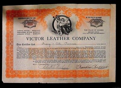 1917 Victor Leather Company uncancelled Stock Certificate