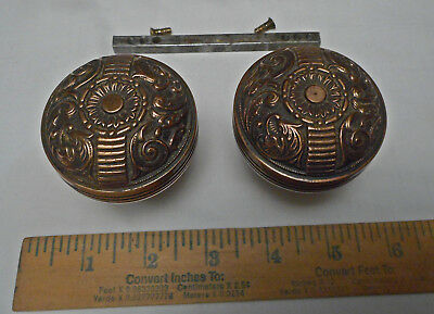 2 Bonze Antique Eastlake Victorian Door Knobs Vintage