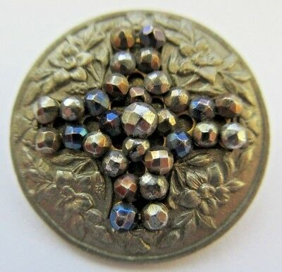 Outstanding Antique~ Vtg Metal BUTTON w/ Flowers & Tinted Cut Steels CROSS (B21)