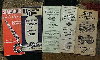 5 Old Railroad Time Tables B&O Reading Seaboard Southern Pacific RR Papers
