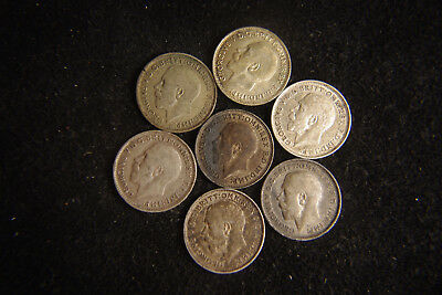 Lot of 7 Silver Great Brittain 3 pence 1912 1915 1918 1920