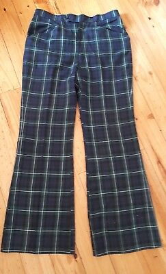 Original Vintage Flares 1970s Green Blue TARTAN Men/Unisex Trousers Steam Punk