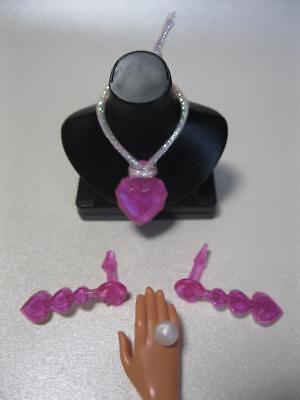 Barbie/Liv Doll JEWELRY Transluscent Pink Heart Necklace/Earring/Big Pearl Ring