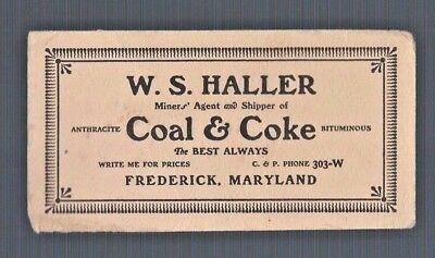 Advertising Blotter HALLER COAL & COKE Frederick Maryland vintage paper ad sign