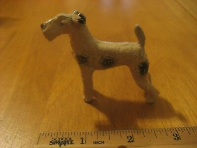 Vintage Heavy Airedale Or Wire Fox Terrier Dog Figurine White PRICE DROP