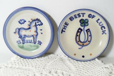 """2 M.A.Hadley 4"""" Coasters~Country Scene Blue Horse+Best Of Luck Horseshoe/Clover"""