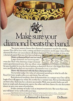 1980 DeBeers A Diamond is Forever Ring Print Ad Advertisement Vintage VTG 80s