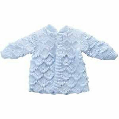 Crochet baby boy blue sweater with pearl buttons newborn