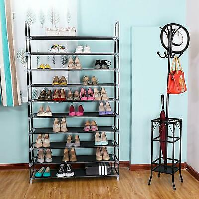 10 Tier 50 Pairs Storage Organizer Shelf Space Saving Shoe Wall Tower Rack Stand