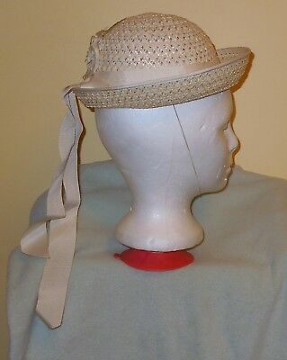ADORABLE VTG LITTLE GIRL'S EASTER HAT BONNET White Straw WHITE FLOWER & RIBBON