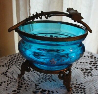 Victorian Antique Hand Painted Blue Glass Brass Handled Footed Bowl