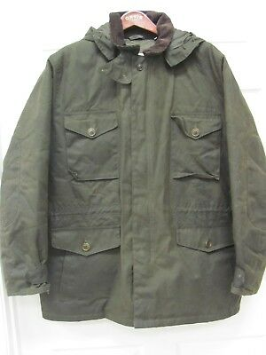 Barbour Romeldale Military Style Winter Jacket Men's XL Waxed Cotton with Hood