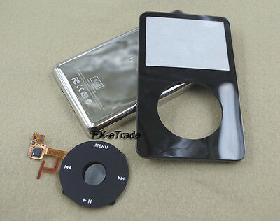 Black Front Faceplate Back Housing Case Clickwheel for iPod 5th Gen Video 30GB