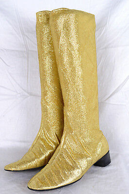 AMZG 60s 24KT GOLD LAME GOGO BOOTS 70s Lurex Vintage 5.5 B
