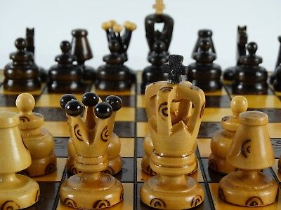 Classic Vintage Hand Turned & Etched Chess Set with pokerwork Decoration