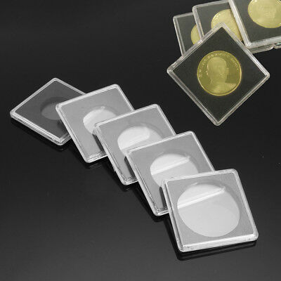 1/10pcs Clear Lighthouse Square Coin Capsules Quadrum Size 24.5mm to 40.5mm