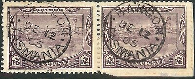 "TASMANIA 1905 Rated Postmark ""BANGOR"" on 2d Lilac Pair Pictorials ""2  STRIKES"""