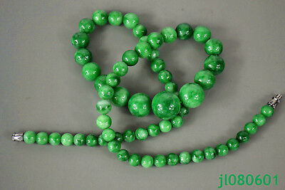 China Collectible Vintage Decor green Jade burnish bead old Exquisite Necklace