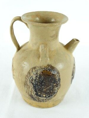 Old Chinese Earthernware Ewer with Oil Spot Impressed Brown dots Celadon Glaze