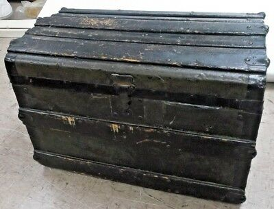 Antique GEORGE MALLOY Victorian 1868 Mahogany Veneer Storage Trunk Chest - BA3