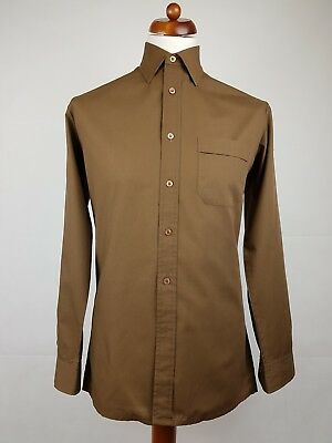 "Vtg 1970s Long Sleeve Brown Polycotton Shirt Mod Disco -15""/M- EX11"