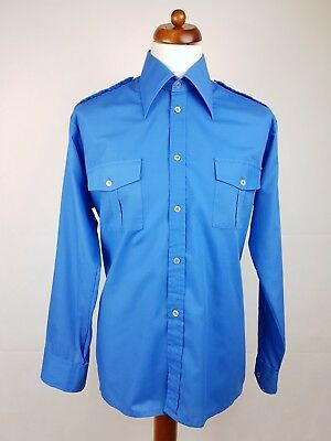 "Vtg 1970s Long Sleeve Blue Polycotton Pilot/ Uniform Shirt -17""/XL- EX13"