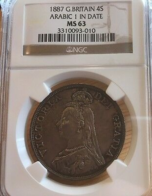 Double Florin 1887 NGC MS63 ARABIC 1 IN DATE GREAT BRITIAN