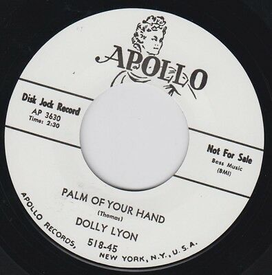 """DOLLY LYON Palm Of Your Hand APOLLO Re. 7"""" 1957 Deadly Cool Fem R&B Popcorn HEAR"""