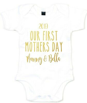 Personalised Mothers Day Babygrow Our First Baby Newborn Child Boy Girl L238