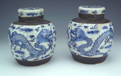 Antique Pair of Chinese Blue & White Dragon Decorated Ginger Jars - Nice!